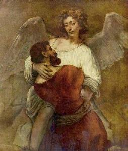 Jakob ringt mit dem Engel (Hermanszon van Rijn Rembrandt, um 1659/60)