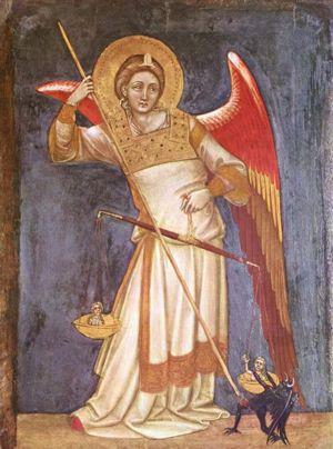 Erzengel Michael wiegt eine Seele (Guariento, 1350, Museo Civico in Padua)