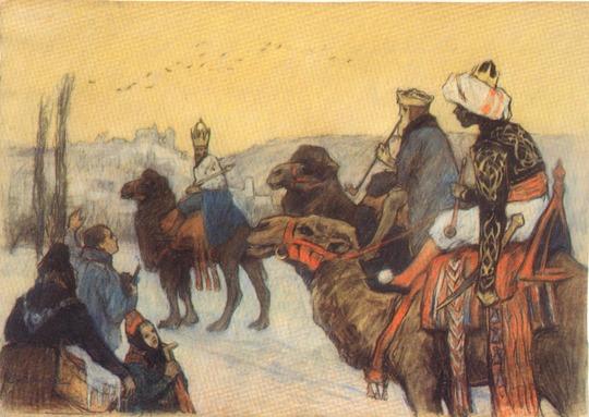 Die Heiligen Drei Könige vor Marburg - Otto Ubbelohde (1867-1922)