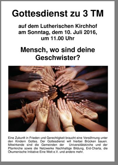 Plakat Gottesdienst zu 3 TM